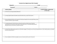 FREE common core lesson plan template. Downloadable blank lesson ...