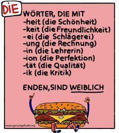 Rule of thumb for 'die.' Feminime articles in German. German Grammar, German Words, German Language Learning, Learn A New Language, Language Classes, German Resources, Germany Language, German English, Learn German