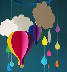Extraordinary Creative DIY Paper Art Project -Colorful Hot Air Balloon Mobile [Template and Video Included] Kids Crafts, Diy And Crafts, Arts And Crafts, Paper Art Projects, Craft Projects, Projects To Try, Diy Paper, Paper Crafting, Decoration Creche