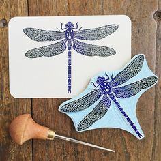 The final dragonfly print, made with my newly carved rubber stamp. #viktoriaastrom #print #printing #dragonfly #insect #rubbercarving #handmade #handprinted