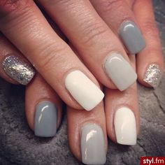 really cute white and grey nails