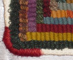 There are many was to finish a hooked rug.from simple hemming, to elaborate crocheted or trimmed edges. Rug Hooking Designs, Rug Hooking Patterns, Latch Hook Rugs, Hand Hooked Rugs, Penny Rugs, Wool Applique, Fabric Art, Scrap Fabric, Rug Making