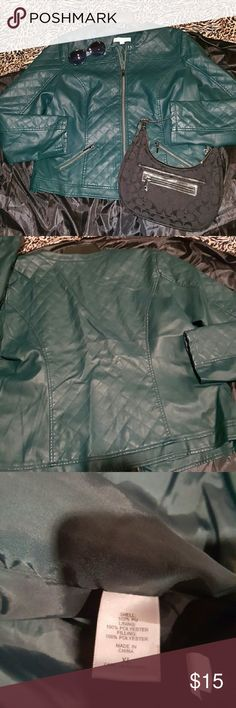 Hunter Green Faux leather jacket XL New York and Company, collarless,  zipper front with two zipper pockets, quilted pattern on front and back, sleeves are not fully quilted. Approximate measurements from armpit to armpit are 22 inches. The COACH bag pictured and COACH sunglasses are also available for purchase in my closet! Happy Poshing! New York & Company Jackets & Coats