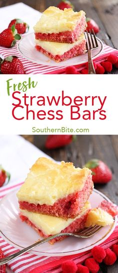 These ooey, gooey Strawberry Chess Bars are a new favorite. Fresh strawberries and a delicious butter chess topping make them amazing! Who would have though a cake mix could be so delicious?
