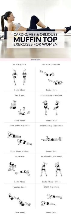 Get rid of your muffin top with this cardio, abs and obliques workout. 10 moves to help you burn fat, strengthen your abs and sculpt your obliques. Combine these muffin top exercises with a clean diet and weekly cardio, and you'll tighten up your tummy in no time!