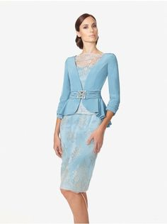 Luxurious Sheath Column Tank Top Knee Length Blue Lace Mother Of The Bride Dress Suits For Women, Clothes For Women, Ladies Suits, Mothers Dresses, Buy Dress, Blue Lace, Modern Fashion, Chic, Bridesmaid Dresses