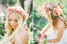 Community: 26 Flower Crowns That Are Perfect For Your Fall Wedding  the one in the picture, I'd have a veil coming out of the bottom of the back