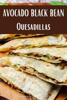 Avocado Black Beans Quesadillas Recipe. Tasty cheesy Avocado Black bean quesadillas. It is a healthy vegan recipe that is quick and easy to make. Quesadilla recipe/ healthy recipes avocado/ Black bean recipes/ avocado vegetarian recipes. Avocado Quesadilla, Quesadilla Recipes, Mexican Food Recipes, Vegetarian Recipes, Healthy Recipes, Healthy Meals, Healthy Food, Healthy Eating, Best Avocado Recipes