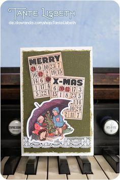 Zwei vergnügte Kinder schützen ihren kleinen Weihnachtsbaum vor dem Schnee. Na, hoffentlich fängt der Schirm kein Feuer ;) Etsy, Instagram, Protecting Children Quotes, Fire, Snow, Xmas Cards