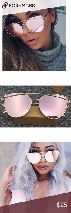 JUST IN ROSE GOLD MIRRORED OR METALLIC SUNGLASSES ✨HOT, TRENDY WITH A BIT OF SEXY ADDED IN✨HOT✨ROSE GOLD METALLIC OR MIRRORED OR MIRROR SUNGLASSES. THE LENSES ARE PINK MIRROR, AND THE FRAMES ARE GOLD METAL. THESE ARE CAT EYE FASHION SUNGLASSES AND ARE A BIT OVERSIZED. AVIATOR SUNGLASSES. VERY NICE QUALITY. THEY WILL ARRIVE NICELY PACKAGED AND COME WITH A BLACK DRAWSTRING FABRIC SUNGLASS POUCH. CHECK OUT MY CLOSET FOR ALL NEW SPRING AND SUMMER ARRIVALS✨BUNDLE AND SAVE✨REASONABLE OFFERS WILL…