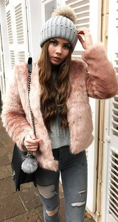 cozy outfit inspiration knit hat   sweater   fur jacket   bag   rips