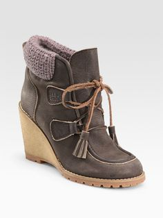 See by Chloe Leather Moccasin Wedge Ankle Boots 39.5 / 9.5