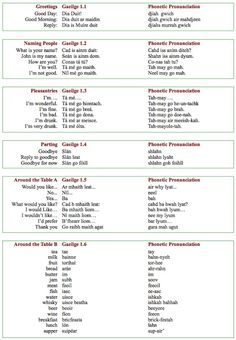 Words and phrases in Irish Gaelic. Its a crazy, hard to spell language, but I love it