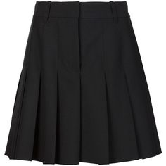 Vera Wang pleated mini skirt ($595) ❤ liked on Polyvore featuring skirts, mini skirts, black, high-waist skirt, high rise skirts, high waisted short skirts, high waisted pleated skirt and mini skirt