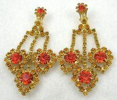 DeLizza & Elster Topaz Rhinestone Chandelier Earrings - Garden Party Collection Vintage Jewelry