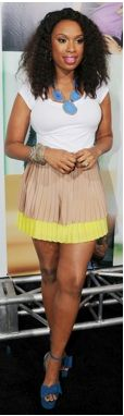 I know She's not a skinny girl on here but she is now so i can totally see myself wearing this...Jennifer Hudson wearing a beige pleated skirt with a neon accent, white shirt, blue platform heels and a blue stone necklace