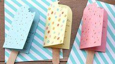 Billiges Vatertagsgeschenk Des cartes d'invitation en forme d'esquimaux glacés, la fête promet d'ê. Easy Crafts, Diy And Crafts, Paper Crafts, Invitation Fete, Invitations, Diy Birthday, Birthday Cards, Birthday Favors, Charlie E Lola