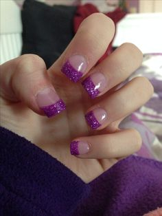 purple glitter tip nails