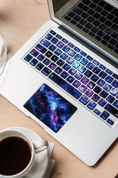 Macbook keyboard decal with galaxy. DIY decals for laptop. Keyboard stickers macbook air, macbook pro, chromebook and Galaxy Room, Lampe Retro, Keyboard Stickers, Cool Laptop Stickers, Cool Office Supplies, Take My Money, Cool Inventions, Cool Tech, Really Cool Stuff