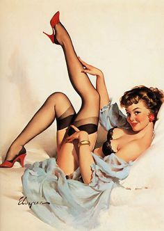 Elvgren - flirty pin up girl in stockings and red pumps