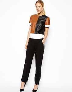 ASOS T-Shirt in Colour Block Leather