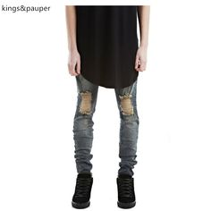 High quality Hip hop men biker jeans distressed ripped skinny jeans fashion mens harem jeans pants patches joggers