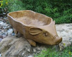 BiG PIG Bread/Candle BOWL*Primitive Wood Style*French Country Centerpiece Decor #NaivePrimitive