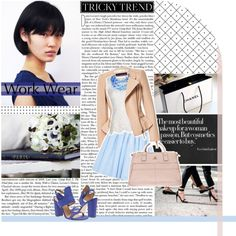 """Work Outfit   blue, white, cream   """"Flowers on my way to your heart."""" by martbee on Polyvore"""