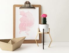 Poster Flamingo Aquarel