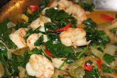 fast shrimp: raw, tails removed wild shrimp, frozen roasted red bell peppers and onions, spinach leaves, coconut oil, coconut milk, curry powder, s/p