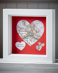 Personalised Framed Map Heart | The Brilliant Gift Shop