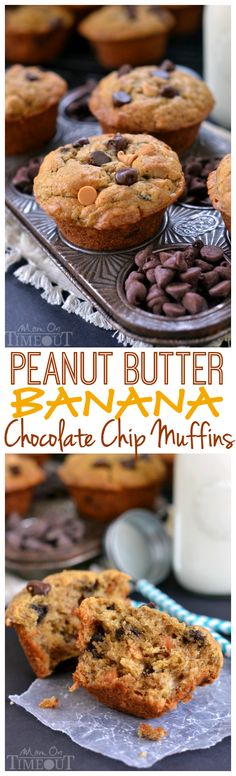 Peanut Butter Banana Chocolate Chip Muffins ~ incredibly moist, delicious, and packed with peanut butter flavor and sweet morsels of chocolate | MomOnTimeout.com