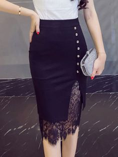 Women's Going out Plus Size Cotton Bodycon Skirts - Solid Colored Lace / Cut Out / Sexy Fall Skirts, Cute Skirts, African Fashion Dresses, Fashion Outfits, Fashion 2018, Hijab Fashion, Fashion Brands, Fashion Women, Women's Fashion