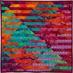 """How to make an Interleave Quilt. Lots of variations. This on is: Interleave#2: Sunset over water, 24x24"""" machine pieced and quilted"""