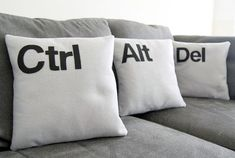 Mac has their own pillows and now Windows have Ctrl Alt Del Cushions.If you want to redesign your living room,this will be so creative and different style for your room.If you want Ctrl Alt Del cushions,there is link to buy. Pillow Talk, Pillow Set, Pillow Corner, Owl Pillow, Pillow Fight, Quilted Pillow, Deco Lego, Back In The Game, Home Decor Ideas