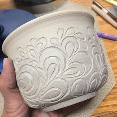 Trying out a new carving idea. As a once in a while quilter, I had to give one of my favorite free motion patterns a whirl in clay. I'm going to need more practice but loving it so far! #pottery #potterylove #handbuiltpottery #carvedpottery #quiltingpottery #freemotionquilting #quiltedpottery #potteryforquilters