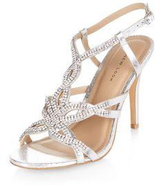 Silver Diamante Strappy Heels