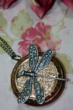 Victorian Dragonfly Large Locket Steampunk PILL by shadesongs, $22.00