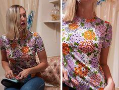 vintage 70's pastel flower print retro women's t shirt by foxandfawns, $28.00