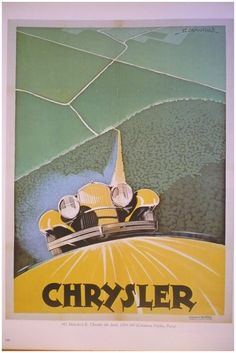 Antique French Chrysler CAR, AUTOMOBILE advertising poster - 1920s. $9.00, via Etsy.