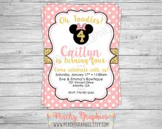 Printable Pink and Gold Minnie Mouse Birthday by PeachyGraphics