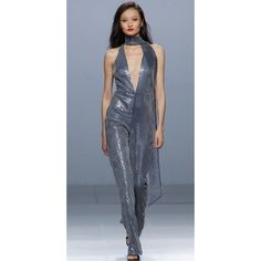 The 2nd Skin Co Sequin Jumpsuit With Bow (5.275 RON) ❤ liked on Polyvore featuring jumpsuits, blue, disco jumpsuit, blue jump suit, sequin jump suit, sequin jumpsuits and blue jumpsuit