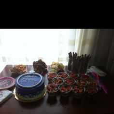 Goodies for a bachelorette party! Yes, those are naughty trays holding sausage balls;)