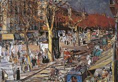 Josep Amat i Pagès. Las Ramblas, 1950. Óleo sobre lienzo, 81 x 116 cm. Colección Carmen Thyssen-Bornemisza