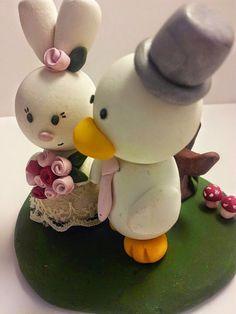 Bunny & Duck Wedding Cake Topper - Custom Handmade to Order Polymer Clay