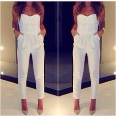 white jumpsuit and nude heels <3