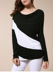 Color Matching Batwing Sleeve Cowl Neck T-Shirt For Women