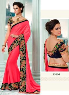 Especial Magenta Silk With Velvet Border Work Party Wear Saree