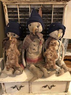 My little guys Santa Doll, Primitive Snowmen, Gingerbread Man, Xmas, Christmas, Doll Clothes, Snowman, Adoption, Folk