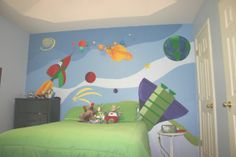 Space theme boys room with mural - for one wall